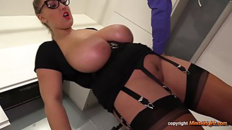 Naughty secretary with big natural tits fucks with her boss in the office and makes a home video