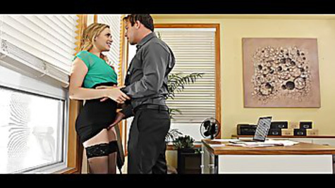 Mia Malkova gets a passionate sex with her boss at work and sucks his huge cock