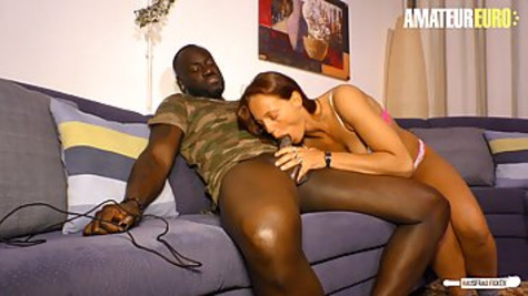 Red haired girl is cheating on her husband and trying interracial sex with her black neighbor