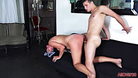 Tiffany Cane has sex with much younger guy and fucks inside shaved pussy in the floor