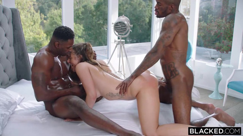 Black men bring slut to their home and make a threesome interracial sex in the bed