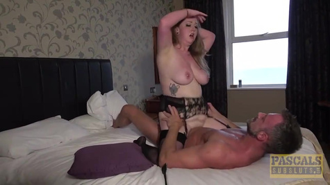 Big ass blonde with huge natural tits is having anal sex with her lover in a hotel room
