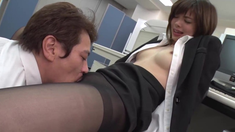 Japanese office lady is spreading her legs wide open and getting fucked while at work