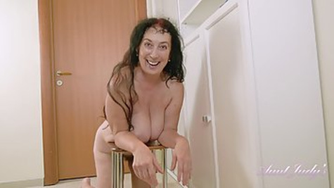 Esmeralda is a slutty granny with big boobs and hairy pussy, who likes to masturbate every day