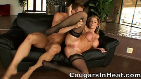 Experienced blonde cougar was extremely horny and decided to fuck her trainer