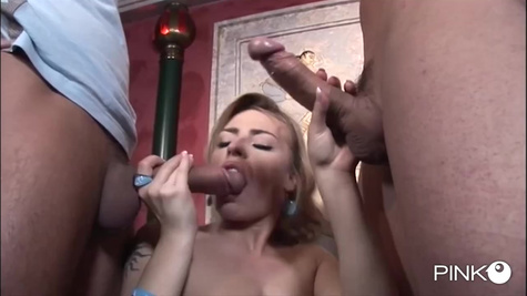 Blonde woman with sexy body tries threesome sex and double penetration in front of the camera