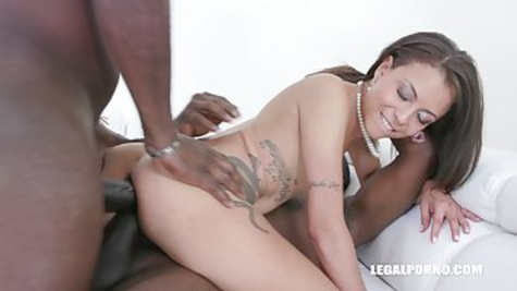 After playing with a big black dildo sexy brunette girl decided to have an interracial threesome