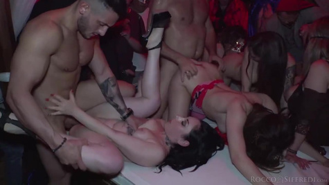 Men make a private party and fuck sexy whores by huge cocks in the group sex