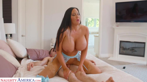 Hot brunette milf with big tits is cheating on her husband and fucking with mature man inside pussy