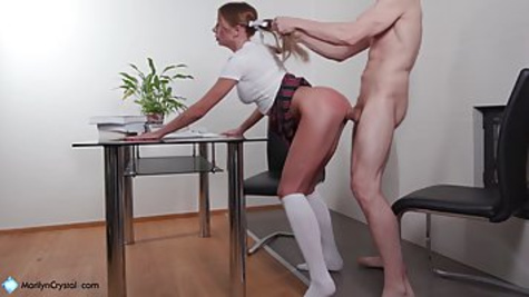 Pigtailed schoolgirl got bored of studying and decided to suck and ride dick during the break
