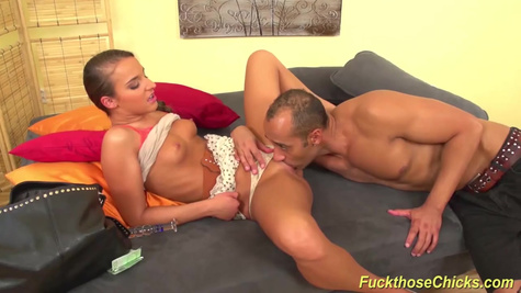 Mature man is making a cunnilingus to sexy brunette and fucking her in the doggy style pose