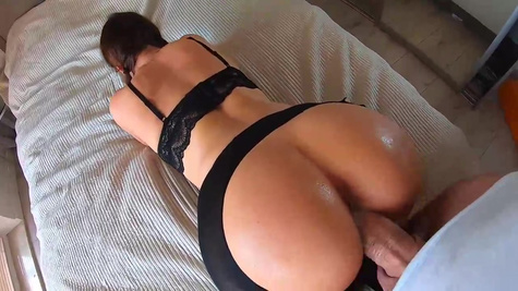 Big butt brunette is getting hammered from the back in a POV style and moaning from a pleasure