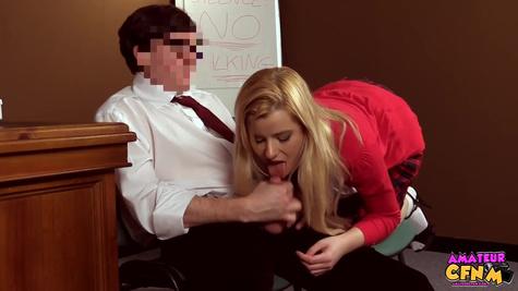 Blonde student girl is sucking a huge cock of her teacher in front of the hidden camera
