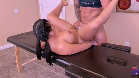 Busty brunette likes relaxing massages and casual sex and gets both from the same guy