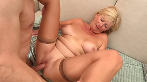 Blonde granny is always willing to spread her legs wide open and get fucked until she cums