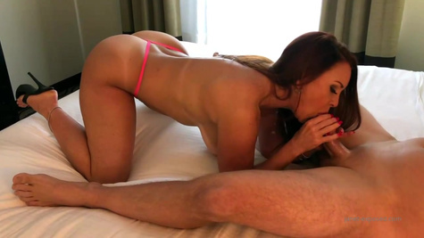 Naughty brunette girl with small tits is gently sucking her married lover's dick to make him cum
