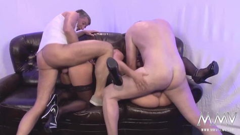 Mature men invited two sexy whores to their home and made a hardcore group sex on the sofa