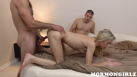 Horny blonde is getting fucked harder than ever before while her boyfriend is forced to watch