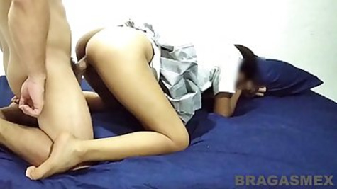 Amateur babe is getting fucked the way she always wanted, instead of going to school, as planned