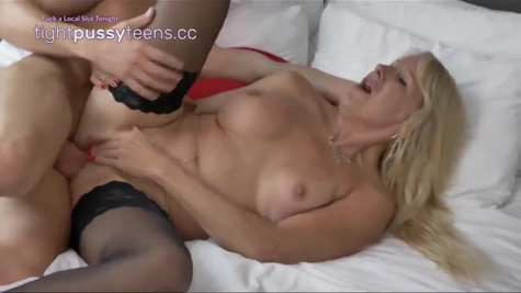 Blonde whore with big boobs and in black stockings came at private casting and fucked with younger guy
