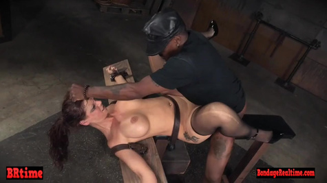 Naughty brunette MILF with big boobs tries a hardcore interracial sex with black man at private casting