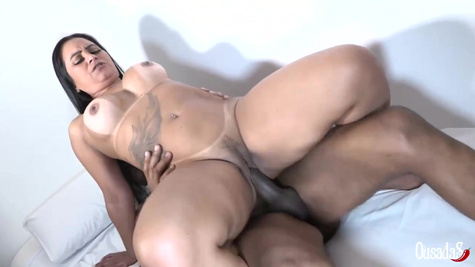 Alessandra Marques is having interracial sex with a black guy, while her partner is at work