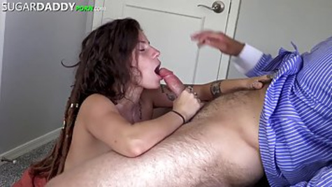 Big titted brunette got down on her knees to suck her partner's dick and fucking inside a shaved pussy