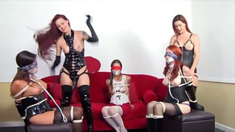Red haired babe got gagged and tortured while her best friend was getting fucked from behind