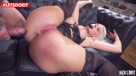 Impressive blonde is gently sucking a hard meat stick and getting it up her tight ass
