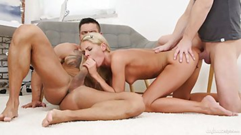 Slim blonde chick with small natural tits Claudia Macc had sex with Angelo Godshack and Steve Q