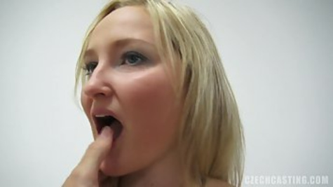 The blonde whore is fucking with mature man inside a tight pussy at private casting