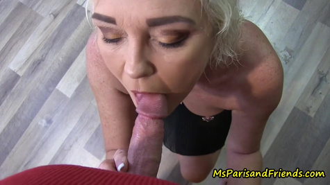 Mature blonde slut with big boobs likes to suck her neighbor's cock and get fucked hard