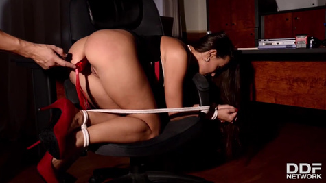 Hot office lady in shoes with high heels Mea Melone got tied up and forced to cum