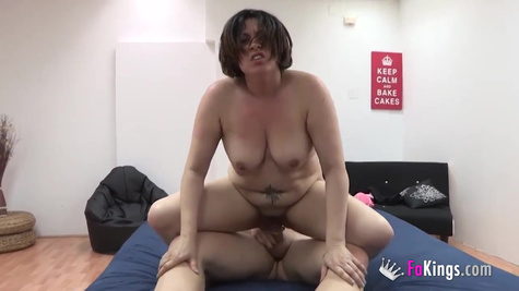 Horny mommy has hooked up with her son's friend and enjoyed riding his rock hard dick