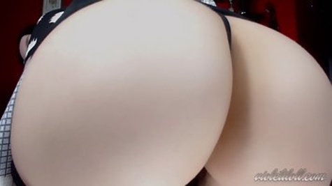 Pale brunette proudly shows her big tits and ass on webcam