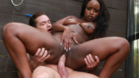 Black whore Nyna Stax hooks up with a white boy