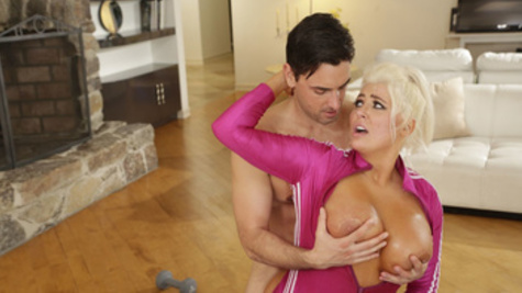 MILF Kristina Shannon fucks with younger guy on the floor