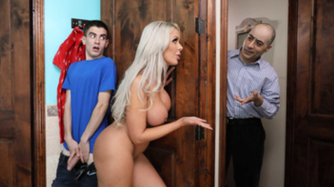 Nina Elle allows boy to touch boobs to be fucked in bathroom