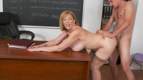 Math teacher Sara Jay rides student's penis in empty class