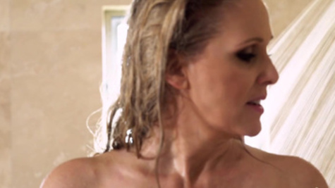 Captivating Julia Ann with hot temper tempted stepson in shower