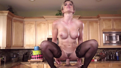 Cory Chase accepted birthday boy to visit her cunt with his cock