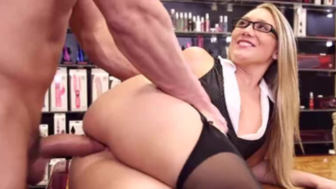 Sex shop worker A.J. Applegate fucks with her client during a working time