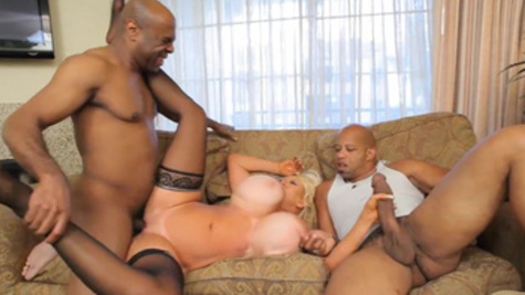 Promiscuous mature woman Kayla Kleevage has threesome with black dicks