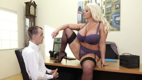 Office woman Alura Jenson with great boobs makes subordinate nail her