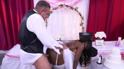 Black bride Diamond Jackson gets fucked by her hung groom