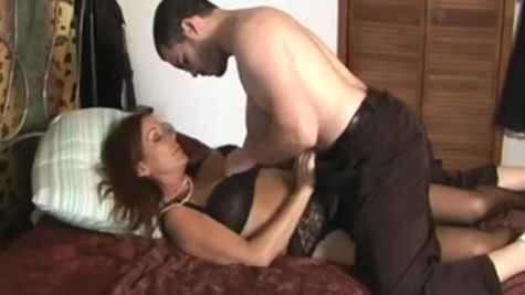 Tanned brunette widow Rachel Steele gets banged by a young student