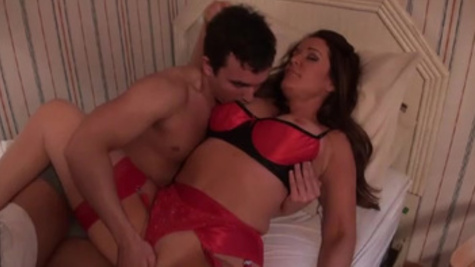 MILF in red lingerie gets banged by a hung student