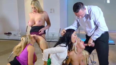 Dazzling scenes of group sex along beautiful ladies in heats