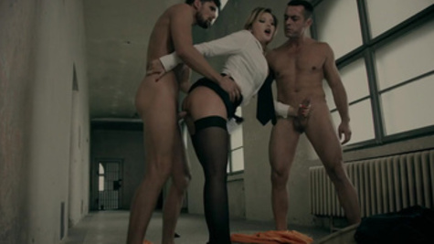 Anna Polina leaves two males to deep pump her creamy love holes