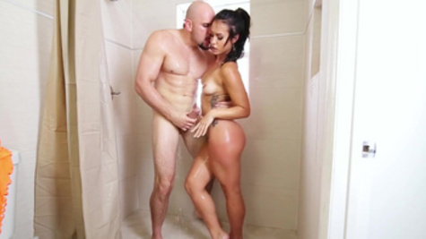 Erotic shower leads Kelsi Monroe in doing nasty things on a big dick